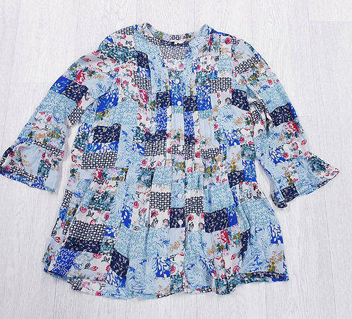 Cotton Traders patchwork print blouse. Uk 10