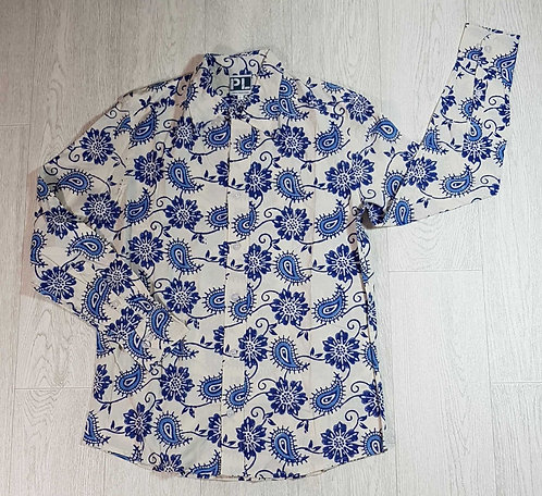 ◾Museum Selection white/blue shirt. Size L NWOT
