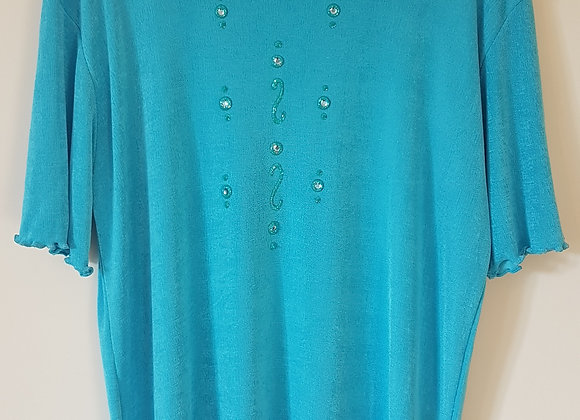 Eternal Collection. Blue stretch top. Green. Diamante design. Size 16-18.