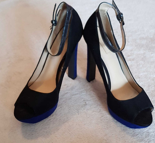 ZARA TRAFALUC Black and blue suede style wedge heels