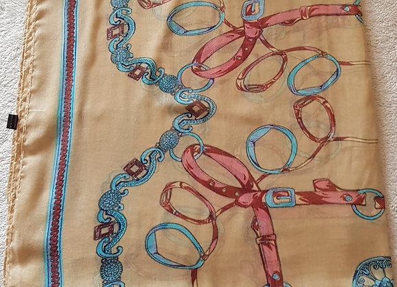 Belt print fashion scarf/shawl. 190x90cm approx. Machine washable.