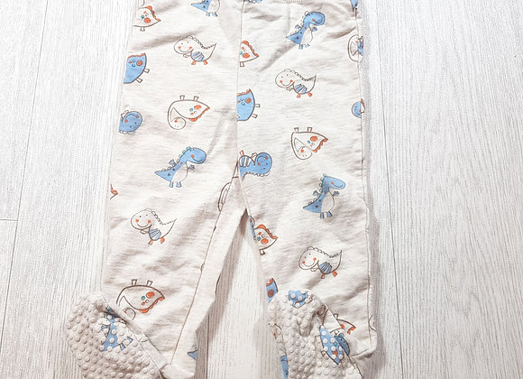 🌈Baby M&Co beige dinosaur trousers with grips feet size 9 / 12 months