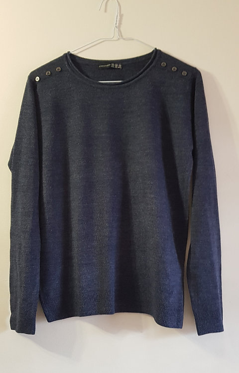 Atmosphere. Knit sweater with button detail on shoulders. Size 10.