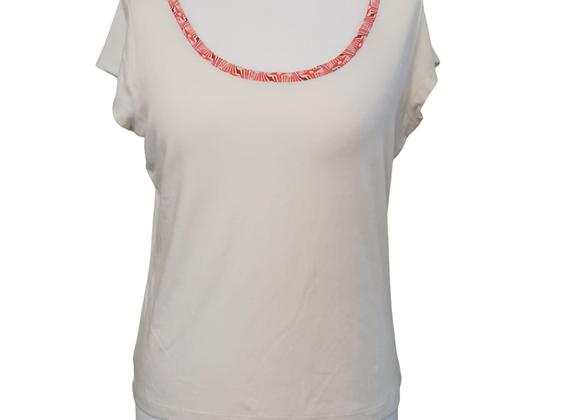 Cream t-shirt with orange neckline. Uk 16
