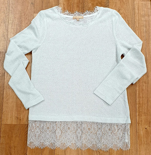 By Swan fluffy jumper with lace trim. Size M