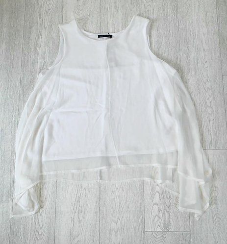 ●M&S white chiffon layered top. Size 18 NWT