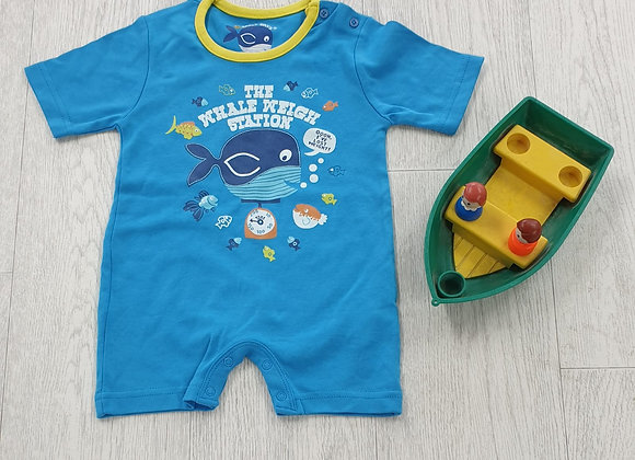 Early Days blue summer romper suit. 0-3m