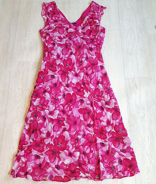 🔴Debenhams fuschia pink chiffon dress size 14