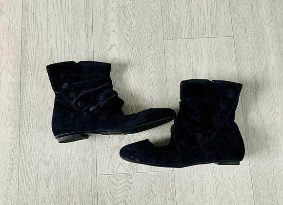 ●Navy ankle boots with open front. Size Euro 39 NWOT