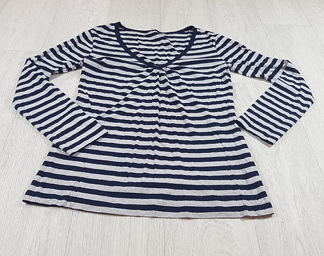 🚩Cherokee long-sleeved Navy and grey striped v-neck top size 8