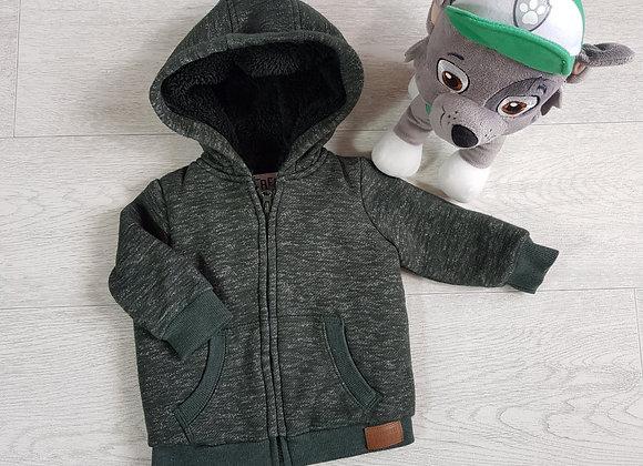 F&F dark green thick zip up hoody. Up to 3m