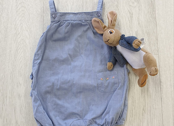 The White Company Blue summer romper suit. 3-6m