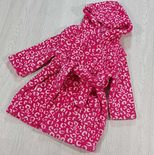 Blue Zoo pink fluffy dressing gown. 12-18m