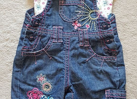 Dungaree trousers and t-shirt set. Butterfly design. Newborn.