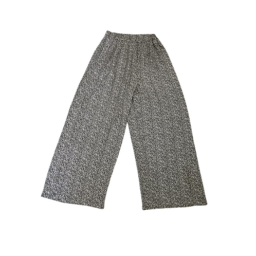 Black patterned wide leg trousers. Uk 12