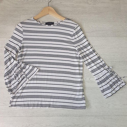ATMOSPHERE white striped flare sleeve top. Size 12