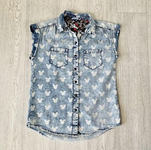 🍃Denim Co Mickey sleeveless shirt. Size 8
