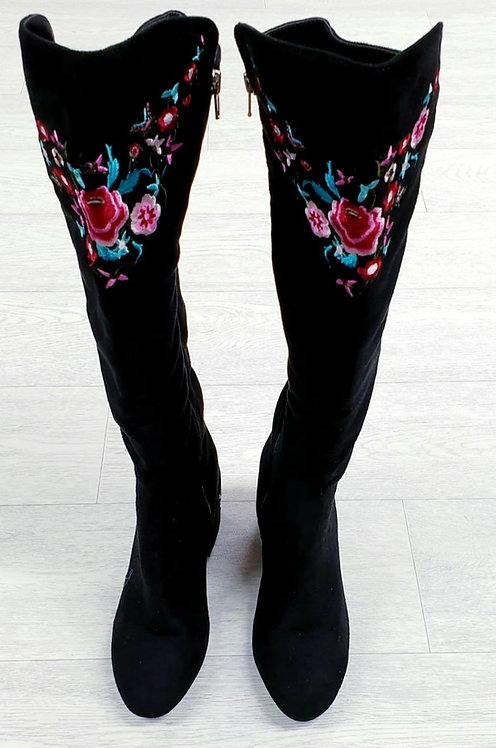 Black embroidered knee high boots. Uk size 3 NWOT