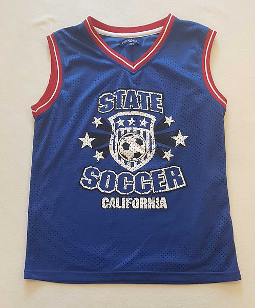 Rebel boys blue soccer vest top with distressed look print. 12-13yrs