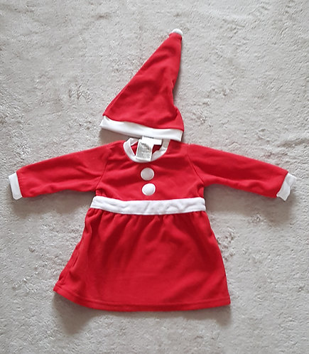 H&M Mrs Claus fleece dress and hat. 100% Polyester 4-6m  NWT