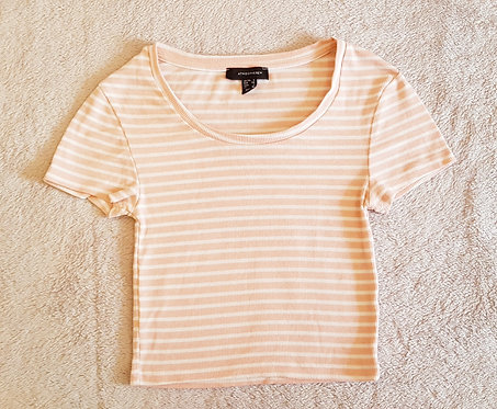 Atmosphere pink and white striped cropped tshirt size 6