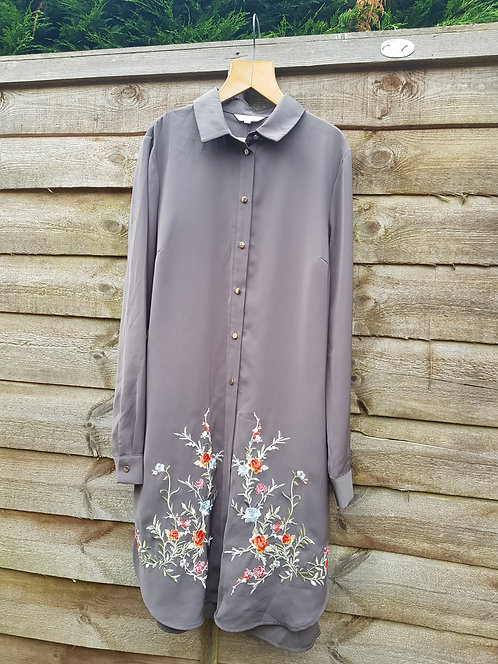 🔷️River Island charcoal grey and floral embroidered long chiffon shirt size 10