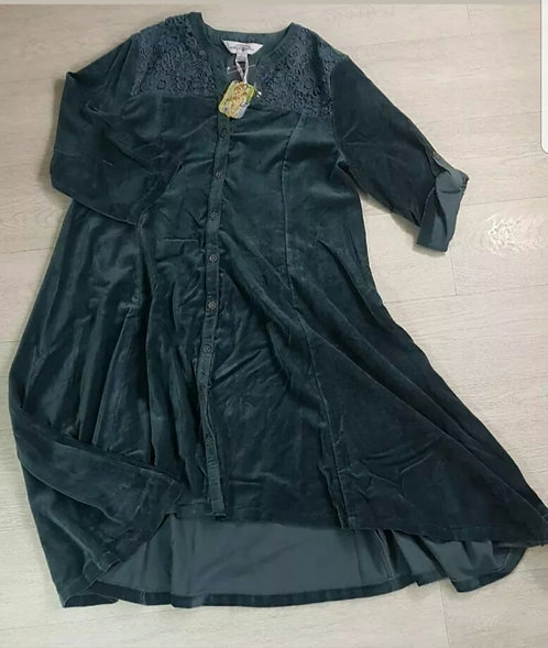 April Cornell Velvet Teal Dress With Embroidery Size Small
