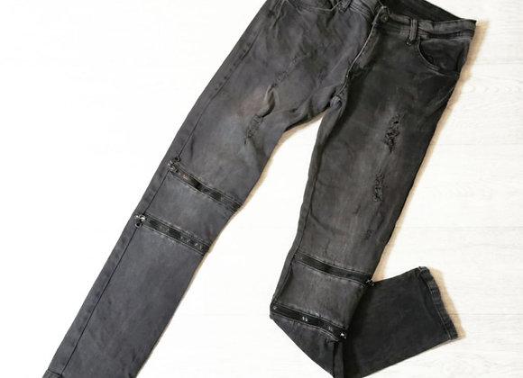 Denim King charcoal skinny distressed jeans. 30w 32L