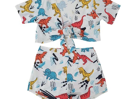 Dinosaur print knot front crop top and hot pants set. Size M