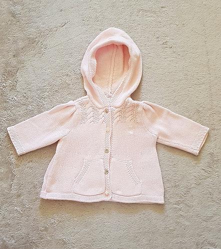 RALPH LAUREN Pink hooded cardigan. 3 months.
