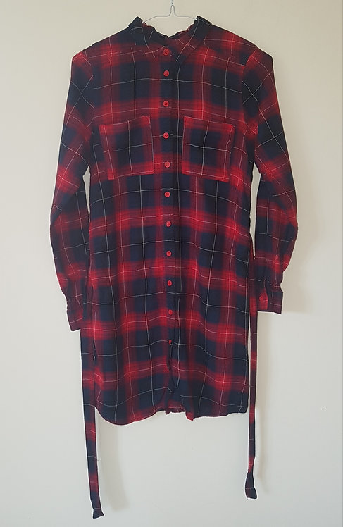BRAVE SOUL. Red and navy checkered shirt dress with ties. Size XS.