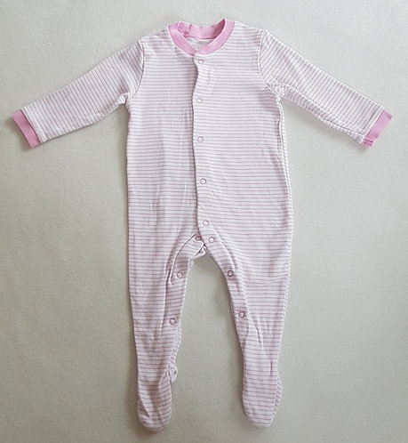 M&S. Pink and white striped sleepsuit. 3-6 months.
