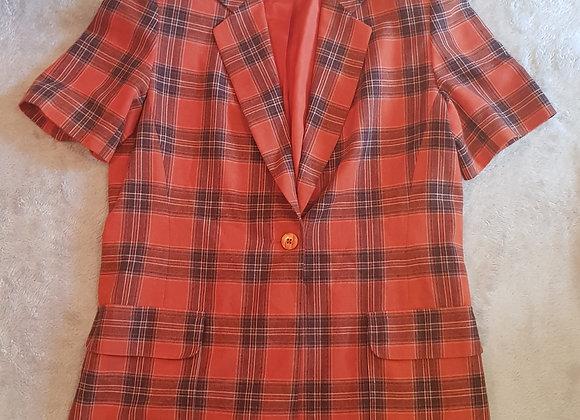 ALEXON. Short sleeved blazer with padded shoulders. Size 12.