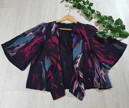 ✴David Emanuel paint strokes pink and blue chiffon kimono size 14
