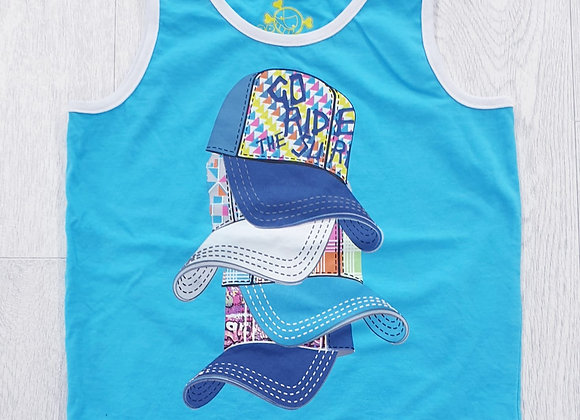 Blue cap print vest top. 3yrs