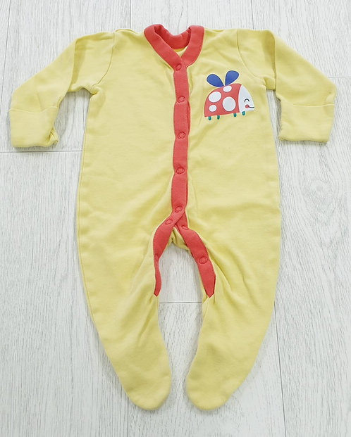 Nutmeg yellow sleepsuit. 0-3m