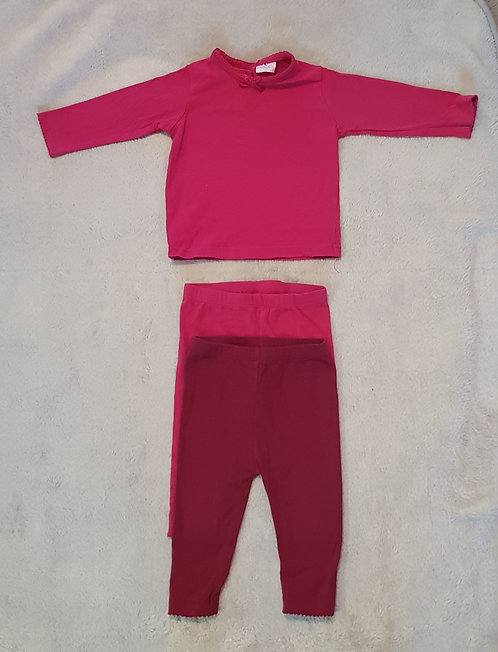 Cherokee. 3 piece set. 1 pink top and 2 pairs of leggings. 6-9 months.