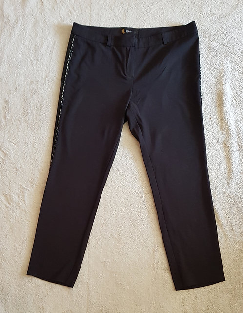 Kaleidescope. Black smart trousers. Silver stitching down sides. Size 16.