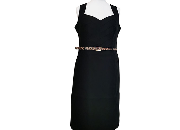 Star by Julien Mcdonald at Debenhams black dress with leopard print belt. Uk 18