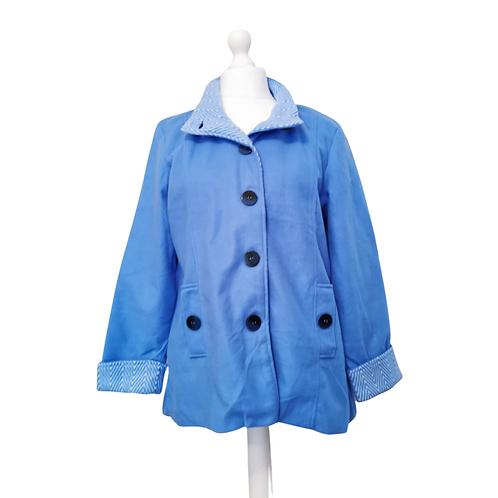 Anne De Lancay blue fleece coat. Size M NWOT
