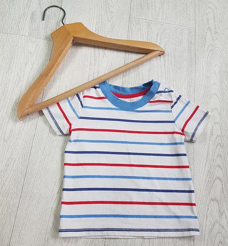 🔶️George boys striped white t-shirt size 6-9 months