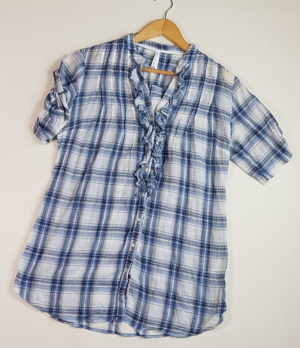 M&S blue check blouse with ruffled front. Size 12