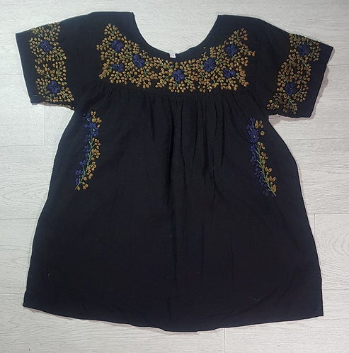 Museum Selection black top with gold embroidery. Size M