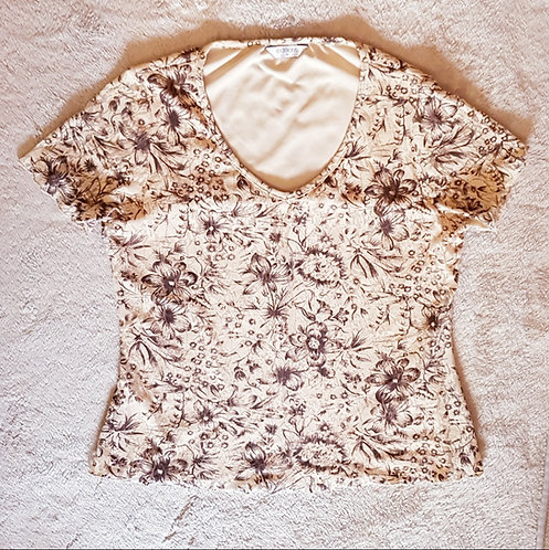 Editions. Lace blouse. Cream with brown print. Size 14.