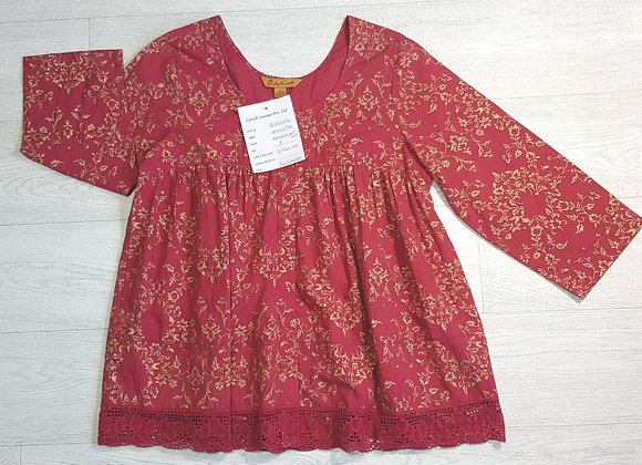 April Cornell burgundy/gold smock top. Size S