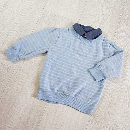NEXT Blue sweater with collar. 9-12m
