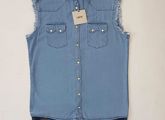 ◾Asos men's distressed sleeveless denim effect shirt. Size M.  NWT