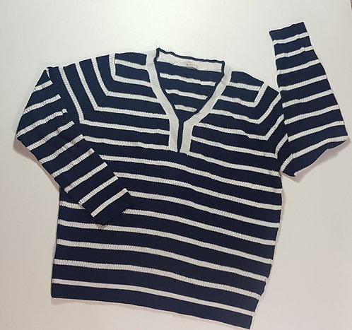 Tu Navy striped knit sweater. Size 16