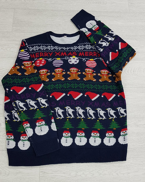 ♟Debenhams navy penguins, gingerbread men and xmas tree jumper size XL