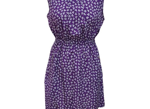 Apricot purple heart print dress. Size M